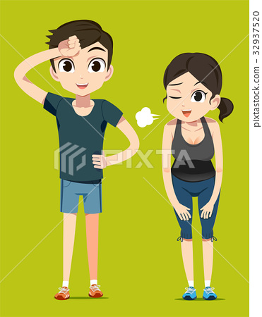 Simple exercise with a lover. Jogging together. 32937520
