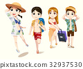 Traveling with friends. Tourism on the beach. 32937530