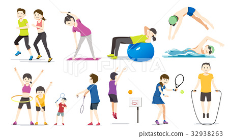 People exercise character cartoon vector 32938263