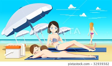 Naked girls on nudist beaches Women Sunbathing On Nude Beach Stock Illustration 32939382 Pixta