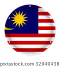 round metallic flag of Malaysia with screw holes 32940438