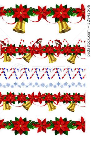 Set of n Seamless Christmas borders 32942506