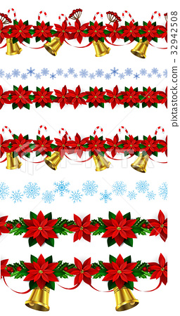 Set of n Seamless Christmas borders 32942508