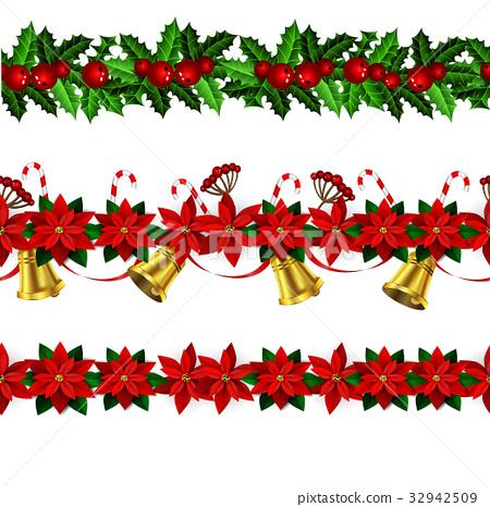 Set of n Seamless Christmas borders 32942509
