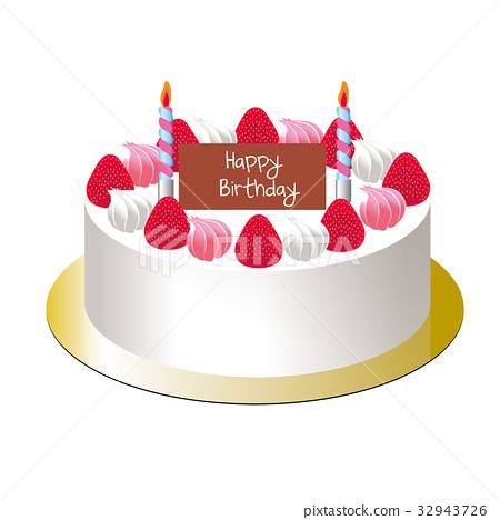 生日蛋糕|短的蛋糕草莓松糕的例证 32943726