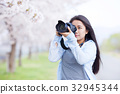 만개 한 벚꽃과 여성 카메라맨 32945344
