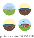 Jumping trampoline flat realistic icon 32950718