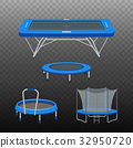Jumping trampoline flat realistic icon 32950720