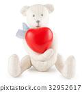 Toy handmade teddy bear on white 32952617