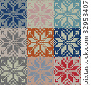 Set of nine nordic knitted seamless pattern. EPS 32953407