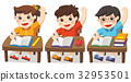 Children sitting and hand up to answer in class. 32953501