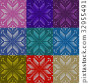 Set of nine nordic knitted seamless pattern. EPS 32955491