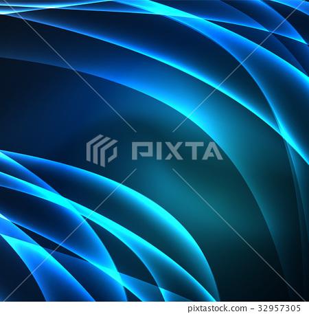 Energy lines, glowing waves in the dark, vector 32957305