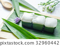 Thai jelly with coconut cream on green banana leaf 32960442