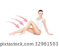 Fit and sporty female body in white lingerie 32961503