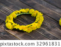 Wreath of dandelions on the wooden table, outdoors 32961831
