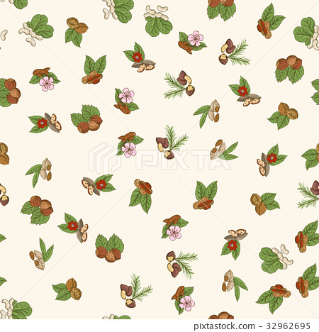 Vector seamless pattern with nuts in hand drawn 32962695