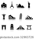 World famous buildings abstract silhouettes 32963726