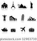 Travel and landmarks icons 32963730