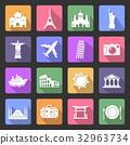 Travel and landmarks flat icons 32963734
