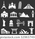 Famous international landmarks icons 32963749