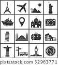 Vector travel and landmarks icons 32963771
