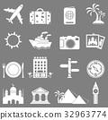 Travel and landmarks icons set 32963774