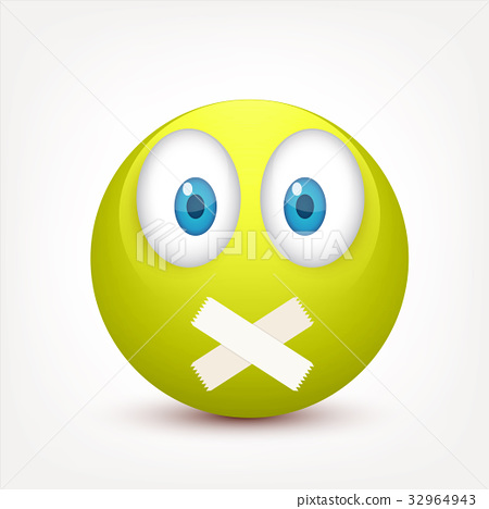 Smiley with blue eyes,emoticon set. Yellow face 32964943