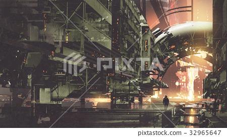 cyberpunk city with futuristic buildings 32965647