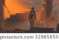 man with futuristic gun standing in abandoned city 32965650