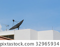 Antenna and satellite dish on the building 32965934