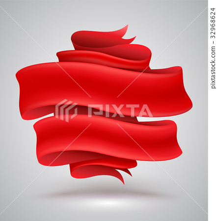 Red ribbon banner 32968624