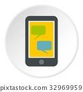 Speech bubble on phone icon circle 32969959