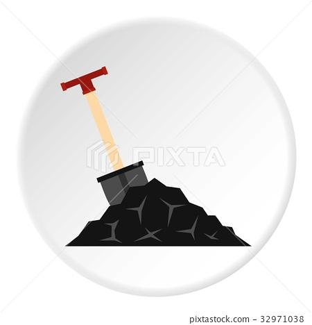 Shovel in coal icon circle 32971038