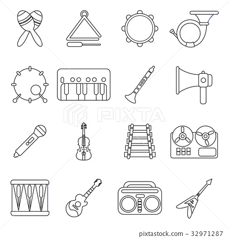 Musical instruments icons set, outline style 32971287