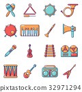 Musical instruments icons set, cartoon style 32971294