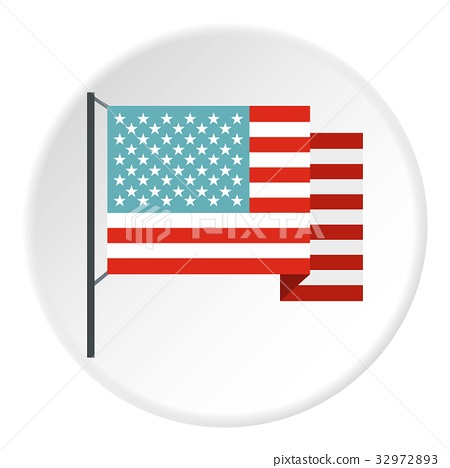 American flag icon circle - ภาพประกอบสต็อก [32972893] - PIXTA