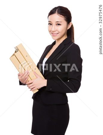 Businesswoman hold with folder 32975476