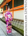 Woman wearing japanese kimono 32976025