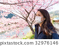 Woman wearing face mask protect from pollen allergy 32976146