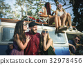 Group of Diverse Friends Travel on Road Trip Together 32978456