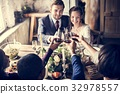 People Cling Wine Glasses on Wedding Reception with Bride and Gr 32978557