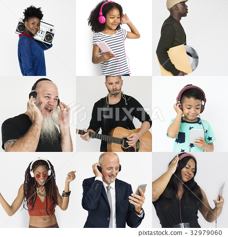 Set of Diversity People Listening Music Studio Collage 32979060