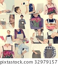 Collage of small business startup people set collection 32979157