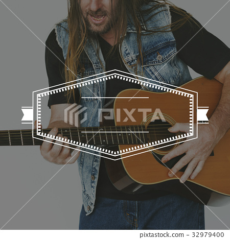 Guitarist Playing Music Banner Frame 32979400