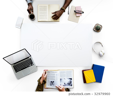 Group of people working with blank banner in aerial view 32979960