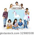 Children holding billboard network graphic overlay 32980508