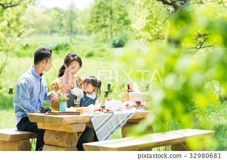 Families enjoying picnics 32980681