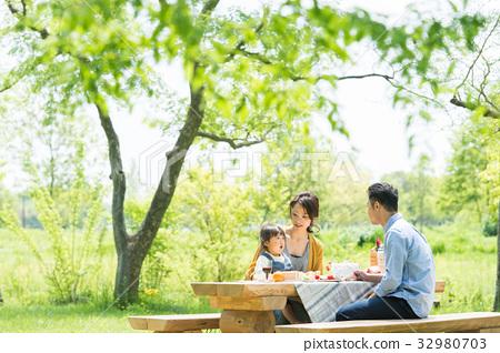 Families enjoying picnics 32980703