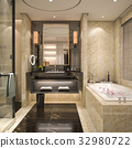 modern and classic loft bathroom with luxury tile  32980722